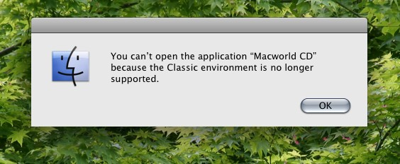 mac classic environment is no longer supported
